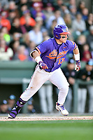 Clemson Tigers designated hitter Robert Jolly (12) runs to first base during a game against the South Carolina Gamecocks at Fluor Field on March 3, 2018 in Greenville, South Carolina. The Tigers defeated the Gamecocks 5-1. (Tony Farlow/Four Seam Images)