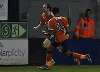 Danny Hylton of Luton Town celebrates scoring their second goal with James Justin of Luton Town during the The Checkatrade Trophy Semi Final match between Luton Town and Oxford United at Kenilworth Road, Luton, England on 1 March 2017. Photo by Stewart  Wright  / PRiME Media Images.