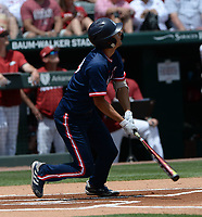 New Jersey Institute of Technology center fielder Albert Choi hits a solo home run Friday, June 4, 2021, during the first inning of Arkansas' 13-8 win in the first game of the NCAA Fayetteville Regional at Baum-Walker Stadium in Fayetteville. Visit nwaonline.com/210605Daily/ for today's photo gallery.<br /> (NWA Democrat-Gazette/Andy Shupe)
