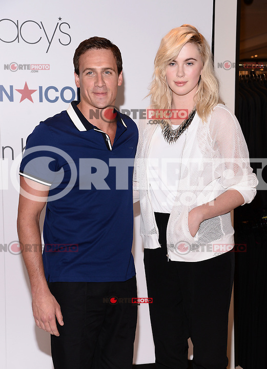NEW YORK, NY - MAY 21, 2014: Olympic Medalist Ryan Lochte and Model Ireland Baldwin Visit Macy's Herald Square In New York,NYC, May 21, 2014 New York,NYC   © HP/Starlitepics.