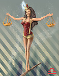 Illustrative image of woman holding scales while walking on rope representing Libra sign