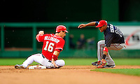 5 July 2009: Washington Nationals' outfielder Josh Willingham slides safely into second with a stolen base against the Atlanta Braves at Nationals Park in Washington, DC. The Nationals defeated the Braves 5-3 to take the rubber game of their 3-game weekend series. Mandatory Credit: Ed Wolfstein Photo