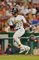 16 May 2012: Pittsburgh Pirates outfielder Andrew McCutchen in action against the Washington Nationals at Nationals Park in Washington, DC. The Nationals defeated the Pirates 7-4 in the first game of their 2-game series. Mandatory Credit: Ed Wolfstein Photo