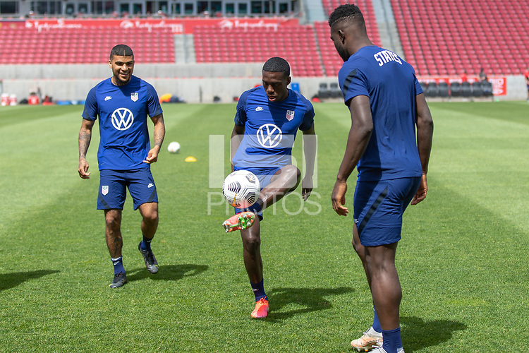 SANDY, UT - JUNE 8: Tim Weah passes the ball during a training session at Rio Tinto Stadium on June 8, 2021 in Sandy, Utah.