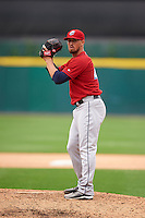 Columbus Clippers pitcher Shawn Armstrong (43) gets ready to deliver a pitch during a game against the Buffalo Bisons on July 19, 2015 at Coca-Cola Field in Buffalo, New York.  Buffalo defeated Columbus 4-3 in twelve innings.  (Mike Janes/Four Seam Images)