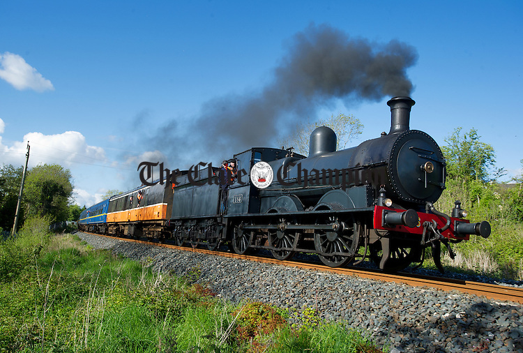 A steam Engine heading towards Ennis photographed at Corrovorrin on the Railway Preservation Society Of Ireland South Clare Railtour. Photograph by John Kelly.
