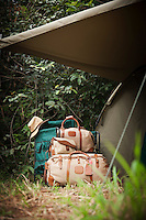 Baggage outside tent, Fly Camp, Lekoli River.