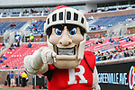 The Rutgers mascot,the Scarlet Knight, in action during the game between the Rutgers Scarlet Knights and the SMU Mustangs at the Gerald J. Ford Stadium in Fort Worth, Texas. Rutgers defeats SMU 55 to 52 in triple OT.