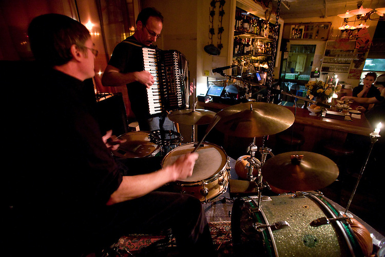 The Pink Door, Seattle, Pike Place Market, district, bistro, cabaret, restaurant, entertainment, Steve Kamke, drums; Tony Yazzolino, accordion;
