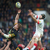 20121027 Copyright onEdition 2012©.Free for editorial use image, please credit: onEdition..Steve Borthwick of Saracens looks to poach the lineout ball from GJ van Velze of Northampton Saints during the Aviva Premiership match between Northampton Saints and Saracens at Franklin's Gardens on Saturday 27th October 2012 (Photo by Rob Munro)..For press contacts contact: Sam Feasey at brandRapport on M: +44 (0)7717 757114 E: SFeasey@brand-rapport.com..If you require a higher resolution image or you have any other onEdition photographic enquiries, please contact onEdition on 0845 900 2 900 or email info@onEdition.com.This image is copyright the onEdition 2012©..This image has been supplied by onEdition and must be credited onEdition. The author is asserting his full Moral rights in relation to the publication of this image. Rights for onward transmission of any image or file is not granted or implied. Changing or deleting Copyright information is illegal as specified in the Copyright, Design and Patents Act 1988. If you are in any way unsure of your right to publish this image please contact onEdition on 0845 900 2 900 or email info@onEdition.com