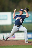 Hagerstown Suns starting pitcher Andrew Lee (47) in action against the Kannapolis Intimidators at CMC-Northeast Stadium on August 16, 2015 in Kannapolis, North Carolina.  The Suns defeated the Intimidators 4-3 in game two of a double-header.  (Brian Westerholt/Four Seam Images)