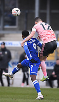 9th January 2021; Memorial Stadium, Bristol, England; English FA Cup Football, Bristol Rovers versus Sheffield United; Michael Verrips of Sheffield United competes for the header with Brandon Hanlan of Bristol Rovers