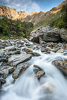 Wild Tekano Creek near Douglas Rock Hut in Copland Valley, Westland National Park, West Coast, South Westland, New Zealand