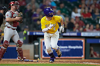 Daniel Cabrera (8) of the LSU Tigers hustles down the first base line against the Oklahoma Sooners in game seven of the 2020 Shriners Hospitals for Children College Classic at Minute Maid Park on March 1, 2020 in Houston, Texas. The Sooners defeated the Tigers 1-0. (Brian Westerholt/Four Seam Images)