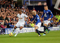 Liverpool, UK. Saturday 01 November 2014<br /> Pictured L-R: Wayne Routledge of Swansea against Steven Naismith and Ross Barkley of Everton. <br /> Re: Premier League Everton v Swansea City FC at Goodison Park, Liverpool, Merseyside, UK.