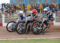 Heat 1: George Hunter (blue), Ben Morley (red) and Mark Baseby (white)<br /> <br /> Photographer Rob Newell/CameraSport<br /> <br /> National League Speedway - Lakeside Hammers v Eastbourne Eagles - Lee Richardson Memorial Trophy, First Leg - Friday 14th April 2017 - The Arena Essex Raceway - Thurrock, Essex<br /> © CameraSport - 43 Linden Ave. Countesthorpe. Leicester. England. LE8 5PG - Tel: +44 (0) 116 277 4147 - admin@camerasport.com - www.camerasport.com