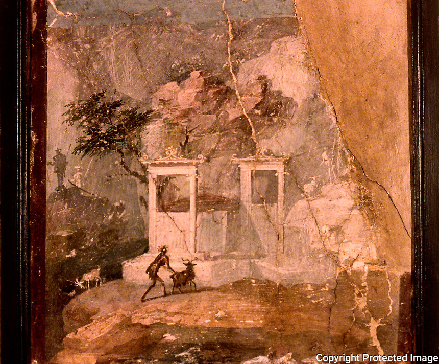 Roman Art:  Fresco--L'oriete smarrito (pittura romana).   National Museum, Naples.