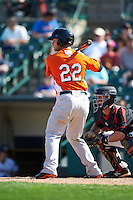 Norfolk Tides designated hitter Christian Walker (22) at bat during a game against the Rochester Red Wings on May 3, 2015 at Frontier Field in Rochester, New York.  Rochester defeated Norfolk 7-3.  (Mike Janes/Four Seam Images)