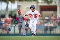 Baltimore Orioles shortstop Erick Salcedo (85) leads off second base during a Spring Training exhibition game against the Dominican Republic on March 7, 2017 at Ed Smith Stadium in Sarasota, Florida.  Baltimore defeated the Dominican Republic 5-4.  (Mike Janes/Four Seam Images)