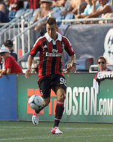 AC Milan forward Stephan El Shaarawy (92) dribbles down the wing. In an international friendly, AC Milan defeated C.D. Olimpia, 3-1, at Gillette Stadium on August 4, 2012.