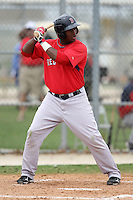 March 18, 2010:  Brandon Jacobs of the Boston Red Sox organization during Spring Training at Ft.  Myers Training Complex in Fort Myers, FL.  Photo By Mike Janes/Four Seam Images