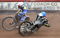Heat 10: George Hunter (blue) slips off inside Connor Coles (white)<br /> <br /> Photographer Rob Newell/CameraSport<br /> <br /> National League Speedway - Lakeside Hammers v Eastbourne Eagles - Lee Richardson Memorial Trophy, First Leg - Friday 14th April 2017 - The Arena Essex Raceway - Thurrock, Essex<br /> © CameraSport - 43 Linden Ave. Countesthorpe. Leicester. England. LE8 5PG - Tel: +44 (0) 116 277 4147 - admin@camerasport.com - www.camerasport.com