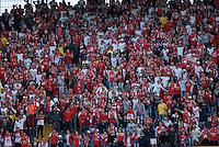 BOGOTA- COLOMBIA – 15-03-2016: Hinchas de Independiente Santa Fe de Colombia, animan a su equipo durante partido entre Independiente Santa Fe de Colombia y Cobresal de Chile,  por la segunda fase de la Copa Bridgestone Libertadores en el estadio Nemesio Camacho El Campin, de la ciudad de Bogota.   / Fans of Independiente Santa Fe of Colombia, cheer for their team during a match between Independiente Santa Fe of Colombia and Cobresal of Chile,  for the second phase, of the Copa Bridgestone Libertadores in the Nemesio Camacho El Campin in Bogota city. VizzorImage / Luis Ramirez / Staff.