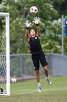 Hope Solo. The USWNT practice at WakeMed Soccer Park in preparation for their game with Japan.
