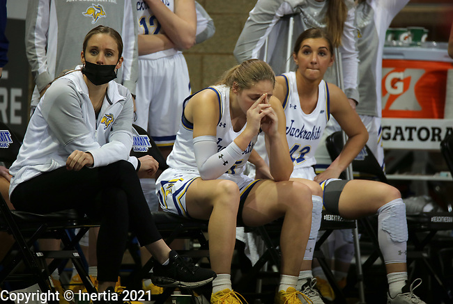 SIOUX FALLS, SD - MARCH 6: Sydney Stapleton #35 of the South Dakota State Jackrabbits realizes near the end of their game as the Jacks fall to the Omaha Mavericks 52-40 during the Summit League Basketball Tournament at the Sanford Pentagon in Sioux Falls, SD. (Photo by Dave Eggen/Inertia)