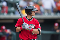 Max McDowell (8) of the Carolina Mudcats at bat against the Winston-Salem Dash at BB&T Ballpark on May 21, 2017 in Winston-Salem, North Carolina.  The Mudcats defeated the Dash 3-0 in 10 innings.  (Brian Westerholt/Four Seam Images)