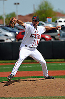 Rutgers Scarlet Knights pitcher Robert Corsi (12) during game against Connecticut Huskies at Bainton Field in Piscataway, New Jersey;  May 01, 2011.  Connecticut defeated Rutgers 6-2.  Photo By Tomasso DeRosa/Four Seam Images