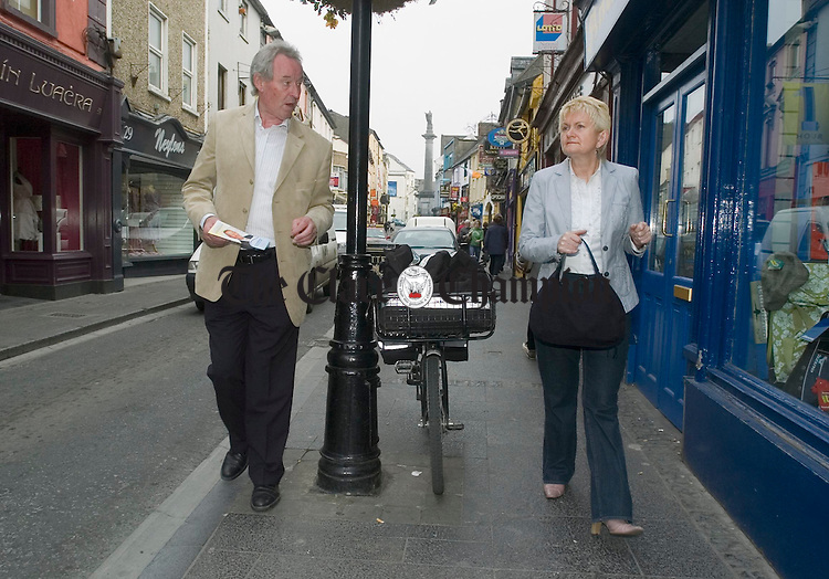 Independent election candidate James Breen and MEP Marian Harkin canvassing in Ennis. Photograph by John Kelly.
