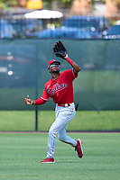 Philadelphia Phillies outfielder Corbin Williams (4) catches a fly ball during an Extended Spring Training game against the Toronto Blue Jays on June 12, 2021 at the Carpenter Complex in Clearwater, Florida. (Mike Janes/Four Seam Images)