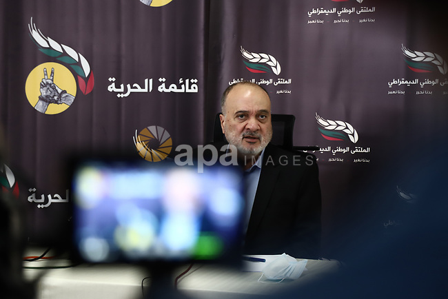 """Senior Palestinian official and diplomatic Nasser al-Qudwa, speaks during a press conference about postponement of the Palestinian parliamentary and presidential elections, in Gaza city, on May 01, 2021. On 29 April, Palestinian President Mahmoud Abbas """"indefinitely postponed"""" three separate rounds of elections in the occupied Palestinian territories that had been scheduled to start on 22 May. His announcement, four months ago, of dates for these elections had come as a pleasant surprise to many Palestinians. Photo by Mohammed Salem"""
