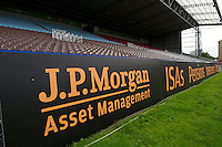 130712 Copyright onEdition 2012 ©.Free for editorial use image, please credit: onEdition..J.P. Morgan Asset Management corporate branding at The Stoop, Twickenham in the first round of The J.P. Morgan Asset Management Premiership Rugby 7s Series...The J.P. Morgan Asset Management Premiership Rugby 7s Series kicked off again for the third season on Friday 13th July at The Stoop, Twickenham with Pool B being played at Edgeley Park, Stockport on Friday, 20th July, Pool C at Kingsholm Gloucester on Thursday, 26th July and the Final being played at The Recreation Ground, Bath on Friday 3rd August. The innovative tournament, which involves all 12 Premiership Rugby clubs, offers a fantastic platform for some of the country's finest young athletes to be exposed to the excitement, pressures and skills required to compete at an elite level...The 12 Premiership Rugby clubs are divided into three groups for the tournament, with the winner and runner up of each regional event going through to the Final. There are six games each evening, with each match consisting of two 7 minute halves with a 2 minute break at half time...For additional images please go to: http://www.w-w-i.com/jp_morgan_premiership_sevens/..For press contacts contact: Beth Begg at brandRapport on D: +44 (0)20 7932 5813 M: +44 (0)7900 88231 E: BBegg@brand-rapport.com..If you require a higher resolution image or you have any other onEdition photographic enquiries, please contact onEdition on 0845 900 2 900 or email info@onEdition.com.This image is copyright the onEdition 2012©..This image has been supplied by onEdition and must be credited onEdition. The author is asserting his full Moral rights in relation to the publication of this image. Rights for onward transmission of any image or file is not granted or implied. Changing or deleting Copyright information is illegal as specified in the Copyright, Design and Patents Act 1988. If you are in any way unsure of your right to publish this image please contact onEd