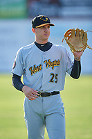 West Virginia Black Bears Robbie Glendinning (25) during warmups before a game against the Batavia Muckdogs on June 24, 2017 at Dwyer Stadium in Batavia, New York.  The game was suspended in the bottom of the third inning and completed on June 25th with West Virginia defeating Batavia 6-4.  (Mike Janes/Four Seam Images)
