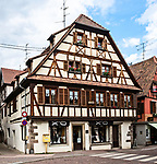 Half-timbered building with shops in Obernai