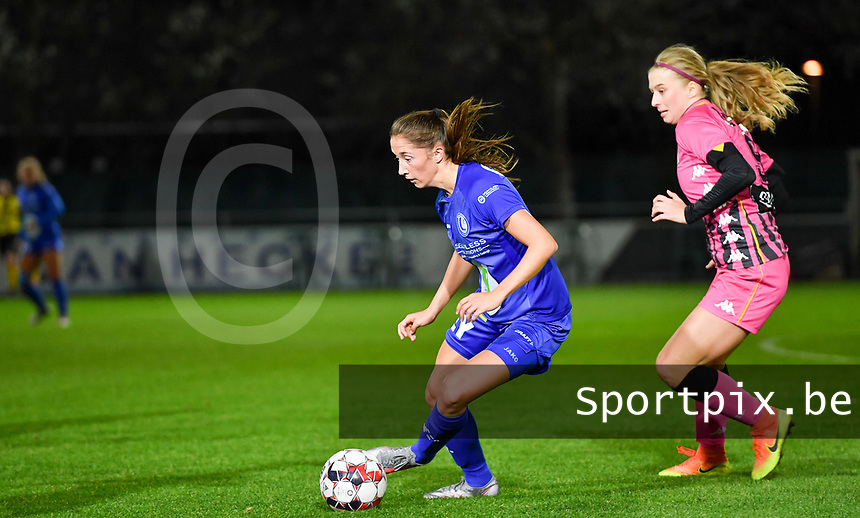 Fran Meersman (5 Gent) pictured with Ludmila Matavkova (9 Charleroi)during a female soccer game between  AA Gent Ladies and Sporting Charleroi Feminin on the fifth matchday of the 2020 - 2021 season of Belgian Scooore Womens Super League , friday 16 th of October 2020  in Oostakker , Belgium . PHOTO SPORTPIX.BE | SPP | DAVID CATRY