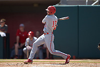 Brock Deatherage (13) of the North Carolina State Wolfpack follows through on his swing against the Northeastern Huskies at Doak Field at Dail Park on June 2, 2018 in Raleigh, North Carolina. The Wolfpack defeated the Huskies 9-2. (Brian Westerholt/Four Seam Images)