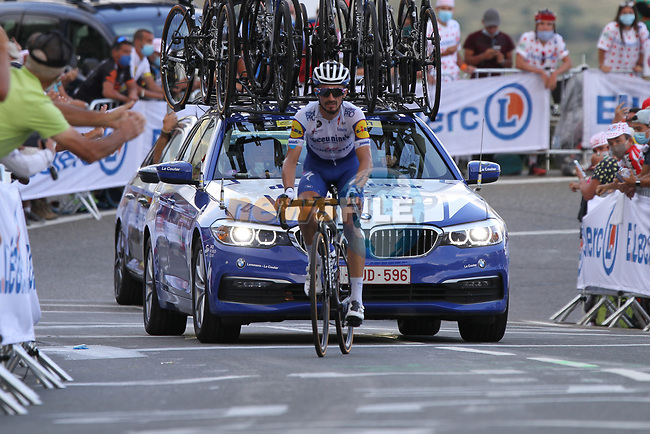 Julian Alaphilippe (FRA) Deceuninck-Quick Step summits the Col de Peyresourde during Stage 8 of Tour de France 2020, running 141km from Cazeres-sur-Garonne to Loudenvielle, France. 5th September 2020. <br /> Picture: Colin Flockton | Cyclefile<br /> All photos usage must carry mandatory copyright credit (© Cyclefile | Colin Flockton)