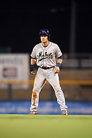Mobile BayBears first baseman Matt Thaiss (21) leads off first base during a game against the Mississippi Braves on May 7, 2018 at Trustmark Park in Pearl, Mississippi.  Mobile defeated Mississippi 5-0.  (Mike Janes/Four Seam Images)
