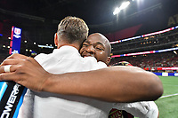 ATLANTA, Georgia - August 27: Darlington Nagbe #6 and Frank de Boer celebrate during the 2019 U.S. Open Cup Final between Atlanta United and Minnesota United at Mercedes-Benz Stadium on August 27, 2019 in Atlanta, Georgia.