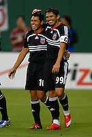 DC United midfielder Christian Gomez (10) celebrates scoring in the eighth minute with teammate Jaime Moreno (99). DC United defeated the New York Red Bulls 3-1, at RFK Stadium in Washington DC, Thursday August  22, 2007.