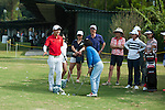 Jazz Janewattananond (red shirt) teaches amateur golfers during a clinic on the side of UBS Hong Kong Open golf tournament at the Fanling golf course on 23 October 2015 in Hong Kong, China. Photo by Xaume Olleros / Power Sport Images