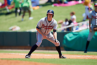 Mississippi Braves shortstop Reed Harper (17) leads off first base during a game against the Montgomery Biscuits on April 25, 2017 at Montgomery Riverwalk Stadium in Montgomery, Alabama.  Mississippi defeated Montgomery 3-2.  (Mike Janes/Four Seam Images)