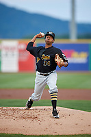 West Virginia Black Bears starting pitcher Francis Del Orbe (34) delivers a pitch during a game against the State College Spikes on August 30, 2018 at Medlar Field at Lubrano Park in State College, Pennsylvania.  West Virginia defeated State College 5-3.  (Mike Janes/Four Seam Images)