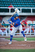 Ogden Raptors catcher Marco Hernandez (38) at bat during a Pioneer League game against the Orem Owlz at Home of the OWLZ on August 24, 2018 in Orem, Utah. The Ogden Raptors defeated the Orem Owlz by a score of 13-5. (Zachary Lucy/Four Seam Images)