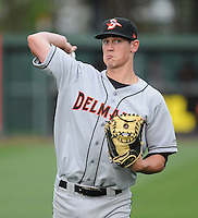 Catcher Michael Ohlman (19) of the Delmarva Shorebirds, No. 15 top prospect of the Baltimore Orioles, in a game against the Greenville Drive on Opening Day, April 8, 2010, at Fluor Field at the West End in Greenville, S.C. Photo by: Tom Priddy/Four Seam Images