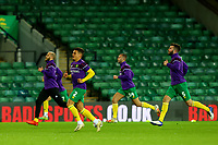 3rd November 2020; Carrow Road, Norwich, Norfolk, England, English Football League Championship Football, Norwich versus Millwall; Max Aaron of Norwich City during the warm up with team mates