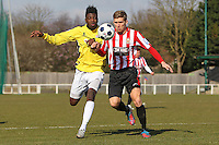 Lewis Smith of Hornchurch and Helge Orome of Bromley - AFC Hornchurch vs Bromley - Blue Square Conference South Football at The Stadium, Upminster Bridge, Essex - 01/04/13 - MANDATORY CREDIT: Gavin Ellis/TGSPHOTO - Self billing applies where appropriate - 0845 094 6026 - contact@tgsphoto.co.uk - NO UNPAID USE.